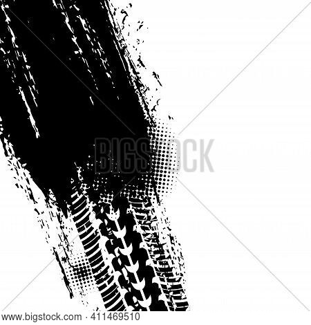 Track Of Tyre, Tire Print Trace, Car Wheel Treads, Vector Dirt Prints Halftone Background. Car Races