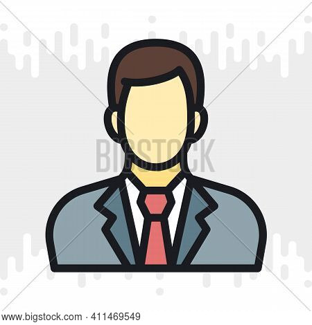 Businessman Or Business Man Icon. Man In Business Suit With Tie. Simple Color Version On A Light Gra