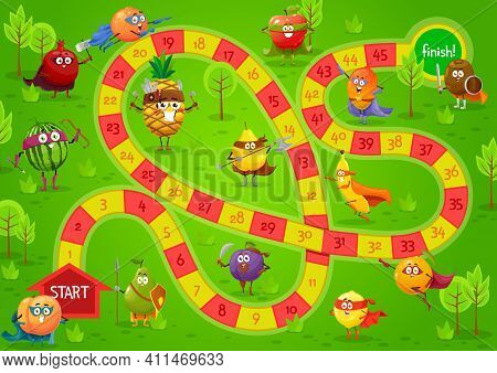 Kids Board Game Vector Template, Step Boardgame With Block Path, Numbers, Start, Finish And Cartoon