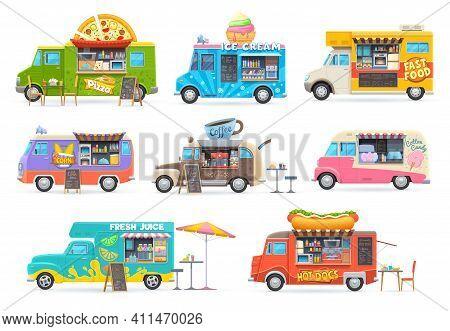 Food Trucks Isolated Vector Cars, Cartoon Vans For Street Food Selling. Cafe Restaurant On Wheels, T