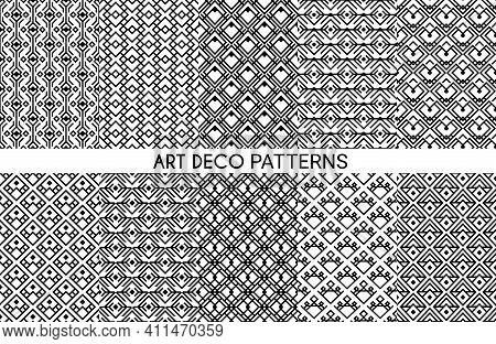 Art Deco Vector Patterns. Seamless Ornament, Decorative Geometric Victorian Style Elegant Monochrome