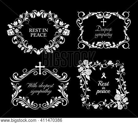 Funeral Vector Frames, Isolated Wreaths Of Floral Design With Blossoms And Leaves. Mourning White Fl