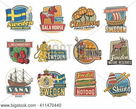 Travel To Sweden Vector Icons With Traditional Swedish Landmarks. Retro Labels With Royal Lion, Ship
