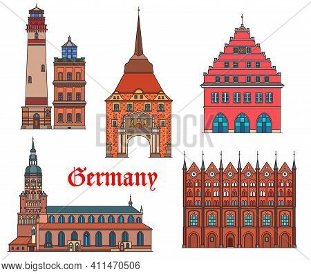 Germany Landmarks Architecture, German Cities Rostock And Greifswald Buildings, Vector. Germany Land