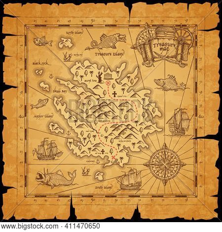 Pirate Treasure Island Ancient Map. Route Dotted Line Among Mountains, Mark For Chest With Treasures