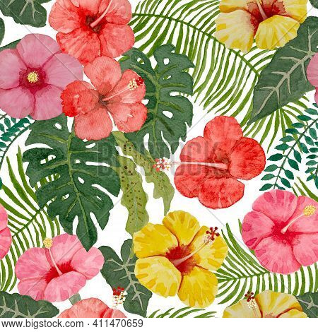 Watercolor Hand Painting Seamless Pattern, Red Yellow And Pink Hibiscus Flower Blossom, Green Leaves
