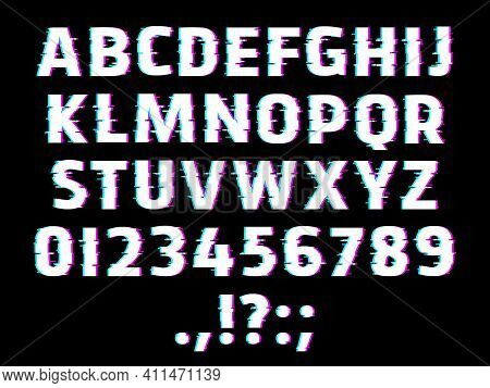 Glitch Type Font, Glowing Vector Alphabet Letters, Ripple Digits And Punctuation Marks Isolated On B