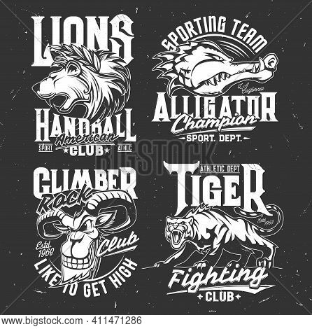Tshirt Prints With Mountain Goat, Alligator, Lion And Tiger Vector Mascots. Heads Of Grin And Roar W
