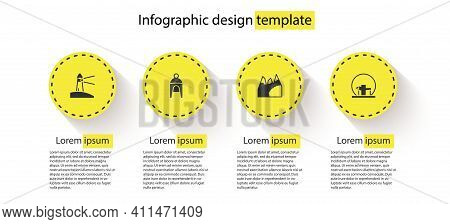 Set Lighthouse, Winter Hat, Mountains And Montreal Biosphere. Business Infographic Template. Vector