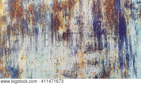 The Texture Of Old Rusty Metal. Spots And Streaks Of Rust On The Light Metal Surface.metal Rusty Tex