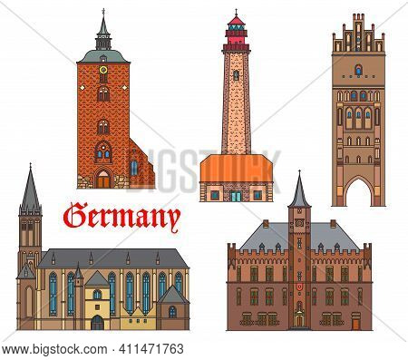 Germany Landmarks Architecture, German Cities Buildings, Cathedrals And Churches, Vector. St Nikolai