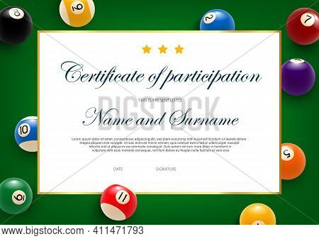 Certificate Of Participation In Billiard Tournament, Diploma Vector Template With Balls On Green Clo