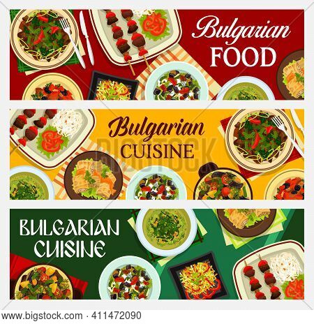 Bulgarian Food Vector Cabbage Soup, Pork Stewed With Prunes, Stuffed Cabbage Leaves Sarmi And Lamb V
