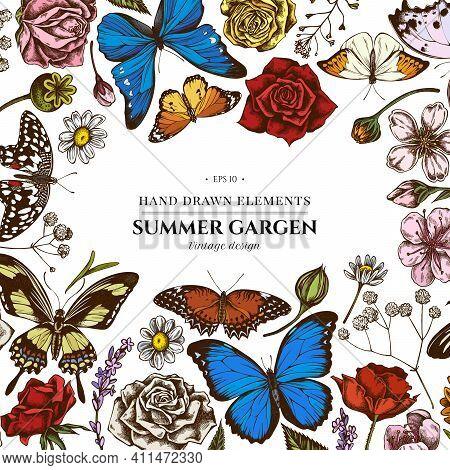 Floral Design With Colored Shepherd S Purse, Heather, Iris Japonica, Sakura, Gypsophila, Chamomile,