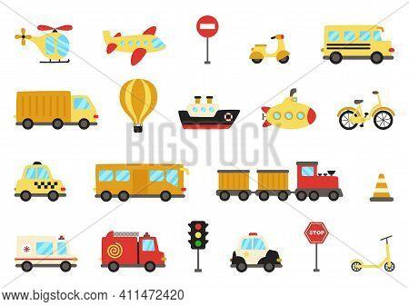 Set Of Cute Cartoon Transportation Means. Vector Illustrations.