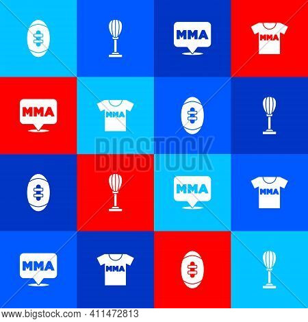 Set American Football Ball, Punching Bag, Fight Club Mma And T-shirt With Fight Icon. Vector
