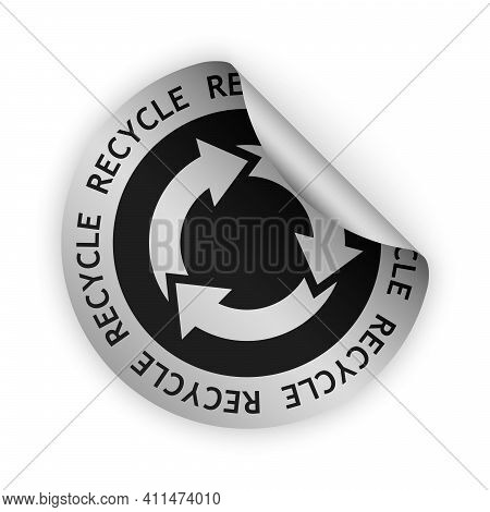 Vector Silver Bent Sticker With Symbol Of Recycle