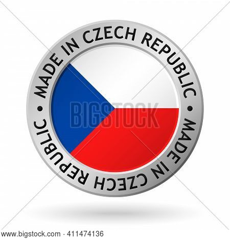 Vector Silver Sign With Flag Of The Czech Republic And Sign Made In Czech Republic