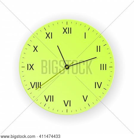 Vector Green Clock With Light Shadow, Show What Time Is It