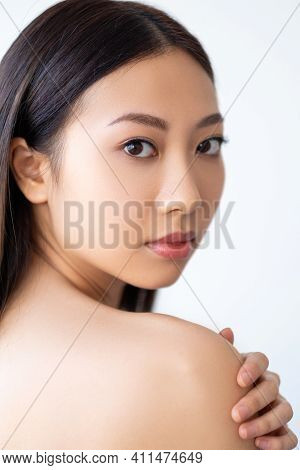 Beauty Care. Skin Treatment. Spa Therapy. Wellness Freshness. Portrait Of Sensual Asian Woman With P