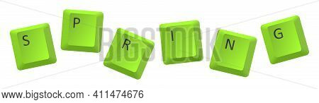 Vector Green Spring Key Inscription, Letter From Key Of Keyboard, Keyboard Is Very Useful Tool For P