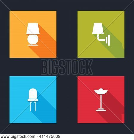 Set Table Lamp, Wall Or Sconce, Light Emitting Diode And Floor Icon. Vector
