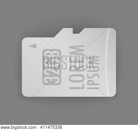 Vector Black Micro Sd Memory Card, The Memory Card Is Used To Transmit Electronic Data
