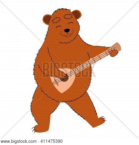 A Bear With A Balalaika. Russian Traditional Symbol. Travel To Russia In A Flat Style. Vector Illust