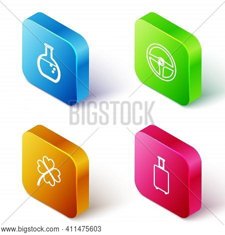 Set Isometric Line Test Tube And Flask, Steering Wheel, Four Leaf Clover And Travel Suitcase Icon. V