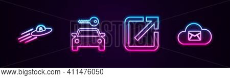 Set Line Ufo Flying Spaceship And Alien, Car Rental, Open New Window And Cloud Mail Server. Glowing