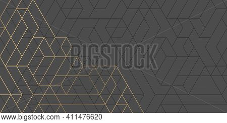 Technology Black Background .geometric Rhombuses.abstract Tech.technical Drawing.vector Illustration