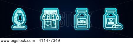 Set Line Anal Plug, Sex Shop Building, Bottle With Pills For Potency And . Glowing Neon Icon. Vector