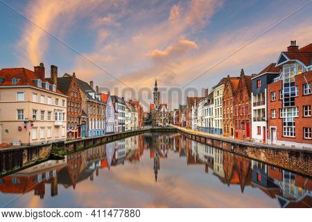 Bruges, Belgium historic canals at dusk.