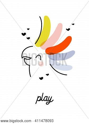 Artistic Vector Illustration Of Cheerful Cockatoo Parrot With Rainbow Crest. Funny Design For Cute G