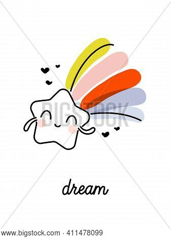 Creative Vector Illustration Of Shooting Star With Rainbow Tail. Funny Design For Cute Greeting Card