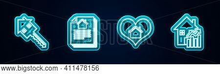 Set Line House With Key, Contract, Heart Shape And Rising Cost Of Housing. Glowing Neon Icon. Vector