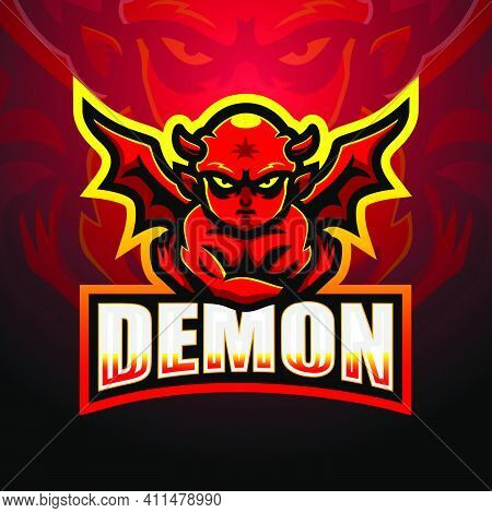 Vector Illustration Of Demon Mascot Esport Logo Design