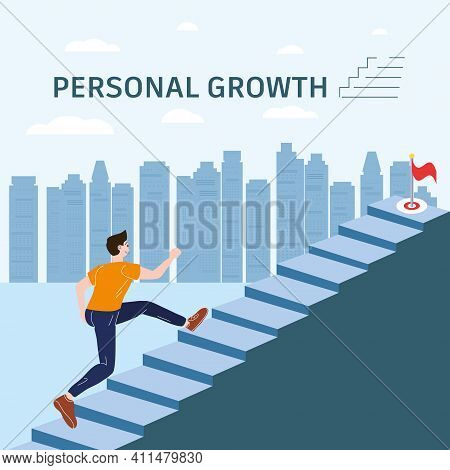 Personal Growth Young Man Running Up Stairway Concept. Self-improvement, Self Development Success, A
