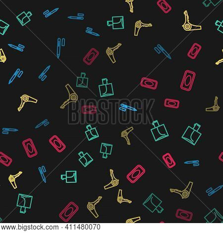 Set Line Eyeliner, Eyebrow, Perfume, Hair Dryer And Bar Of Soap On Seamless Pattern. Vector