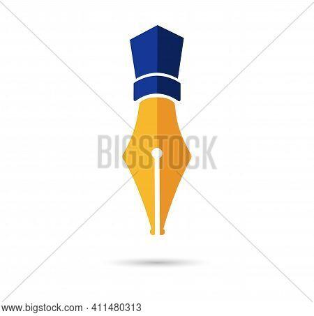 Gold Fountain Pen Nib. Golden Icon Symbol Pen Nib Isolated