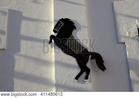 Sant Climent, Menorca / Spain - June 23, 2016: A Horse Icon On A Wall At ´jaleo´ Traditional Festiva