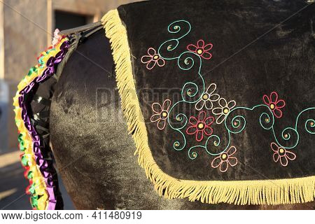 Sant Climent, Menorca / Spain - June 23, 2016: Horse Decoration At ´jaleo´ Traditional Festival In S