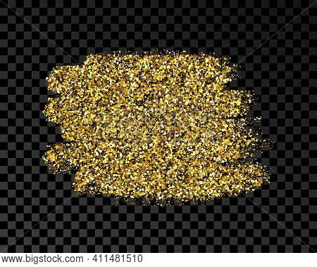 Hand Drawn Ink Spot In Gold Glitter. Gold Ink Spot With Sparkles Isolated On Dark Transparent Backgr