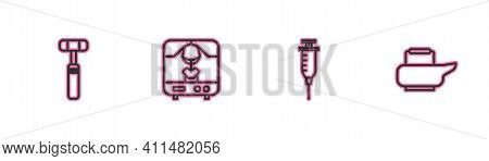 Set Line Neurology Reflex Hammer, Syringe, X-ray Machine And Bedpan Icon. Vector