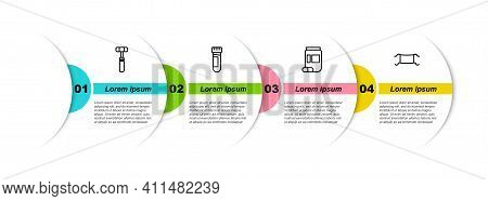 Set Line Neurology Reflex Hammer, Test Tube With Blood, Medicine Bottle And Pills And Medical Protec