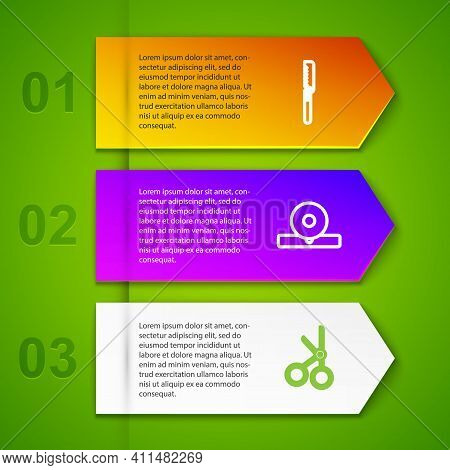 Set Line Medical Saw, Otolaryngological Head Reflector, Scissors And Pipette. Business Infographic T