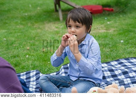 Hungry Kid Eating Fresh Tortilla Wraps With Salmon Mixed Vegetables, Cute  Boy Siting On Rug Having