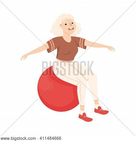 Young Blond Female In Athletic Wear At Gym With Fitball Doing Physical Exercise And Workout Vector I