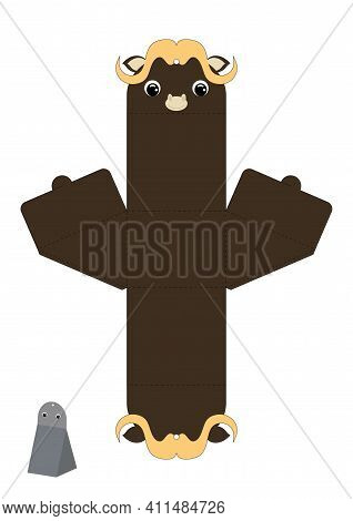 Party Favor Box Musk-ox Design For Sweets, Candies, Presents. Packaging Die Cut Template, Great For