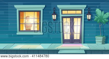 Lonely Man With Crossed Arms Stand At Window Look On Night Street. Male Character At Home, Outside V